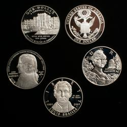 5 Modern Proof Silver Dollars In Capsules