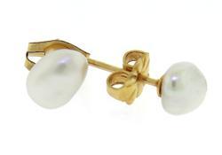 Simple Yellow Gold Fresh Water Pearl Stud Earrings