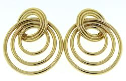 Gorgeous Yellow Gold Interlocking Circle Earrings