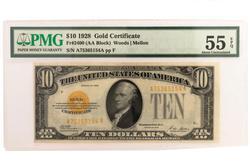 1928 $10 Dollar Gold Certificate PMG AU 55 EPQ