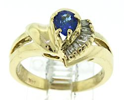 Unforgettable Yellow Gold Tanzanite and Diamond Ring