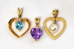 Three 14k Various Stone Heart Pendants