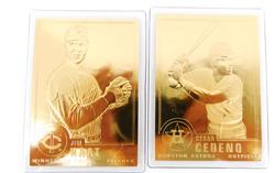2 - 22KT Gold Foil Baseball Cards