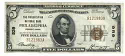 Crisp 1929 Series $5 National of Philadelphia, PA (539)