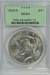 Virtual Gem BU 1926-D Peace Silver Dollar Old PCGS MS64