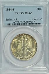 Solid Gem BU 1944-S Walking Liberty Half. PCGS MS65
