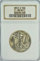 Gorgeous Gem BU 1943-S Walking Liberty Half. NGC MS65