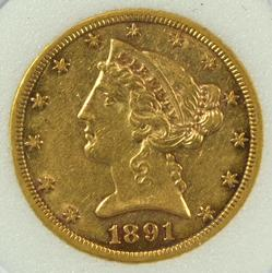 Nice scarce AU 1891-CC $5 Liberty Gold Piece. Sharp
