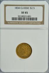 Super 1834 Classic Head $2.50 Gold Piece. NGC XF45