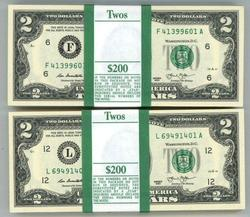 2 Gem Packs 100 Series 2013 $2 Bills in Sequence (F&L)
