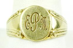 Vintage 10K Gold Men's Signet Ring, Size 12