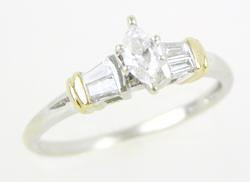 14K Ring - Marquise & Baguette Diamonds, 7
