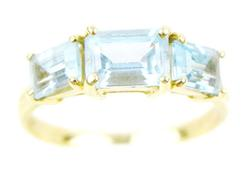 14K Ring with 3 Blue Topaz Stones, Size 7.5