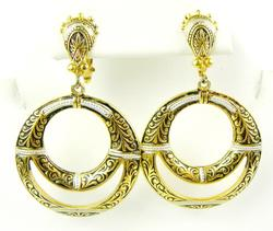 Spanish Damascene Vintage Hoop Earrings