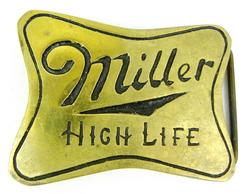 Vintage Miller High Life Brass Belt Buckle