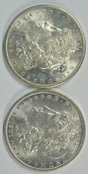 Flashy-white BU 1882-S & 1901-O Morgan Silver Dollars