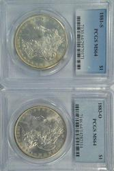 Near Gem BU 1881-S & 1883-O Morgan Dollars. MS64's