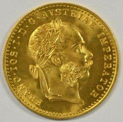 Semi-Prooflike BU Austria 1 Ducat Gold Piece dated 1915