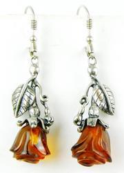 Vintage Sterling & Carved Amber Roses Earrings