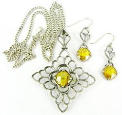 Superb Vintage Sterling Citrine Necklace & Earrings