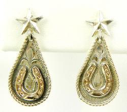 Vintage Signed Sterling & Gold-Filled Spur Earrings