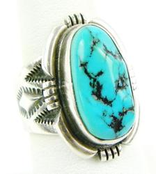 Wilson Padilla Sterling Turquoise Navajo Ring, 8