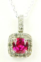 Sterling Halo Pendant of Pink & White Topaz Stones w/Chain