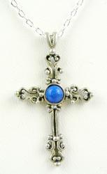 Sterling Lapis Cross & Chain