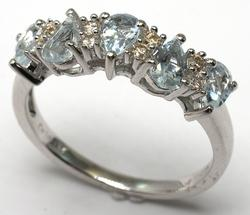 Sweet Aquamarine & Diamond Ring in Sterling Silver