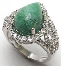 Exquisite Emerald & Sapphire Ring in Sterling Silver