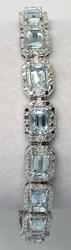Shimmering Aquamarine & Diamond Bracelet in Sterling Silver