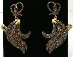 Ravishing Emerald & Diamond Earrings in Antiqued Silver