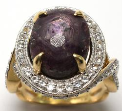 Extremely Rare Unheated Darling Star Ruby & White Sapphire Ring in Vermeil