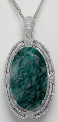 Gorgeous, Humongous 123.66CTW Emerald & White Sapphire Necklace