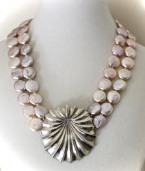 Summery and Dramatic Coin Pearl and Sterling Necklace