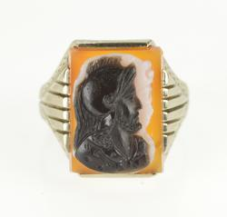 14K White Gold Carved Knight Two Face Cameo Statement Ring