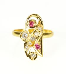 22K Yellow Gold Ornate Syn. Ruby CZ Accent Statement Ring