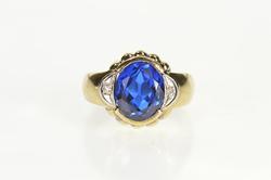 10K Yellow Gold Men's Retro Syn. Sapphire Diamond Statement Ring