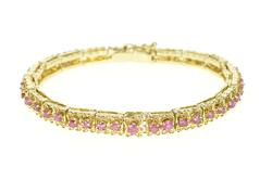 14K Yellow Gold Retro Floral Link Ruby Encrusted Statement Bracelet