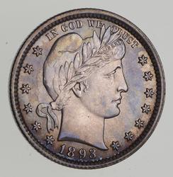 1893 Barber Silver Quarter - Choice