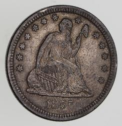 1857 Seated Liberty Quarter - Near Uncirculated