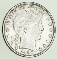1912-S Barber Head Silver Half Dollar - Near Uncirculated