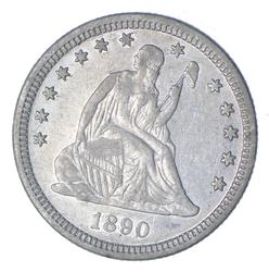 1890 Seated Liberty Silver Quarter - Near Uncirculated