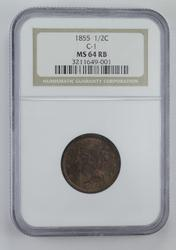 MS64 RB 1855 Braided Hair Half Cent - C-1 - Graded NGC