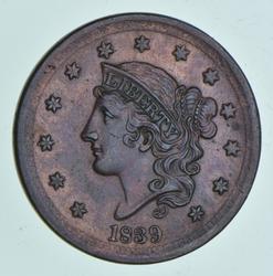1839 Braided Hair Large Cent
