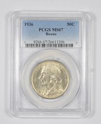 MS67 1936 Boone Bicentennial Commemorative Half Dollar - Graded PCGS