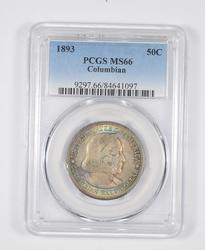 MS66 1893 Columbian Expo Commemorative Half Dollar RAINBOW TONED PCGS