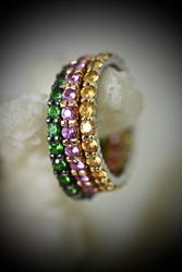 Group of 3 Stacking 18K Gold and Sapphires Bands