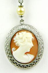 Pretty Vintage Sterling Filigree Cameo Necklace