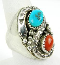 Big N.A. Indian Sterling Turquoise/Coral Snake Ring